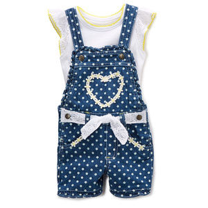 NWT Nannette Floral Heart Girls Shortall Outfit
